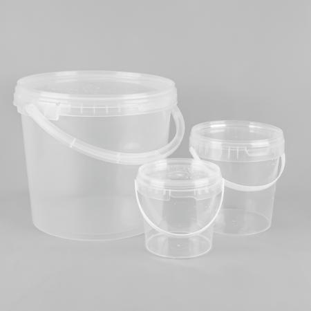 Round transparent plastic bucket